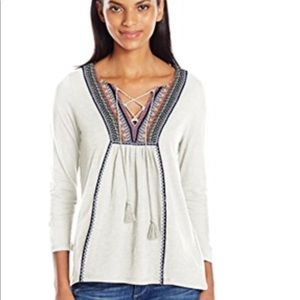 Lucky Brand embroidered top, tie front medium